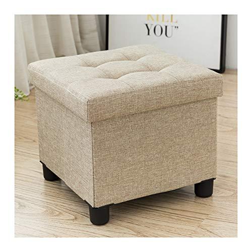SXGKY Sitzhocker Sitzwürfel Mit Stauraum, Aufbewahrungsbox Truhen, Deckel Abnehmbar, Gepolsterte Sitzfläche Aus Leinen Aufbewahrungsbox Fußschemel (Color : Rice Camel)