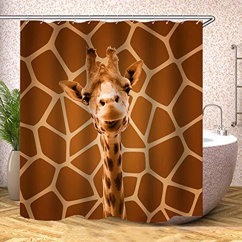 Duschvorhang aus Stoff, Giraffe, niedlich, mit gleichem braunem Hintergr&, Polyester, Designer-Tuch, bedruckt, dekorative Badezimmervorhänge inklusive Haken Set (1206)