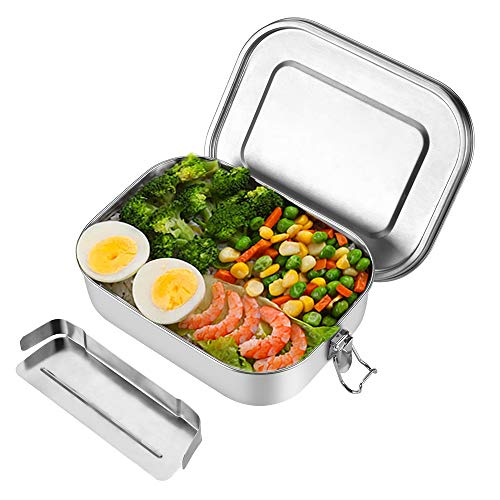 OIZEN Brotdose aus Edelstahl 1400ml Bento Box mit Fächern Lunch Box für Schule Kinder Erwachsene, ohne BPA, Spülmaschinenfest