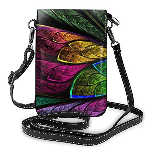 Lawenp Colorful Diagonal Symmetrical Flower Crossbody Phone Purse Small Mini Shoulder Bag Cell Phone Pouch Leather Wallet For Women Girls