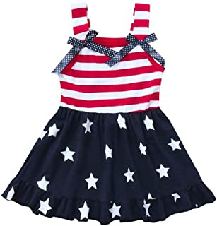 Toddler Kids Baby Girls 4th of July Outfit Princess Beach Sundress Cute Bow-Knot Stars Striped Straps Dress