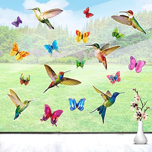 EQLEF Antikollision Fenster Aufkleber, 3D Vögel & Schmetterling Doppelseitige Fensterwandaufkleber Nicht klebende statische Fensteraufkleber 18St