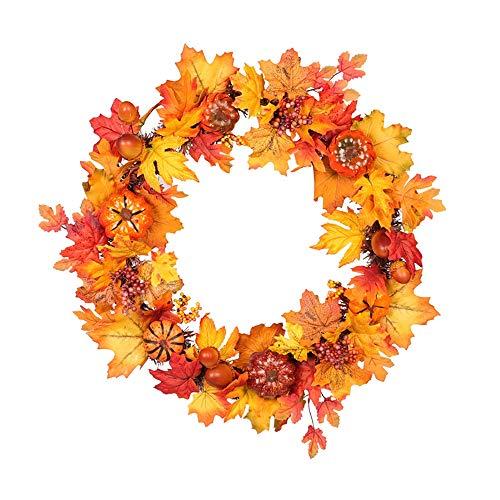 NQXXN Kunstkraal, pompoen esdoorn blad Thanksgiving Halloween krans, herfstkrans voor voordeur/muur/Festival/Home Decor (23 inch)