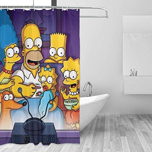 zhaoyuan Simpsons Cartoon Anime Duschvorhang Wasserdicht und Spaß Badezimmer Dekoration 60 X 72 in 12Pa Kunststoffhaken
