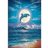Lazodaer Kit de pintura de diamante 5D por número para adultos completo redondo taladro, pintura de diamantes de imitación, arte arte arte delfín azul, 30 x 39,9 cm