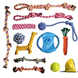 EylbKey Dog Rope Toys Dog Toy for Small to Medium Dogs,Puppy and Pets - 12 Pack as Cotton Chewers for Dog Toys - Dog Teething Cleaning - Dog Training - Dog Playing Bonus Squeaky Ball and Bag