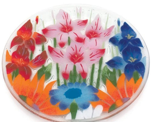Fusion Art Glass 14-Inch Ribbed Plate with Wild Flowers Design by Fusion Art Glass