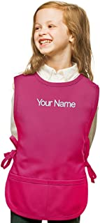 Personalized Hot Pink Kids Art Smock, Cobbler Apron, Poly/Cotton Twill Fabric