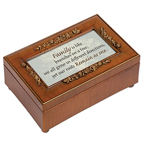 Cottage Garden Family Like Branches Grow Different Woodgrain Embossed Jewelry Music Box Plays Wonderful World