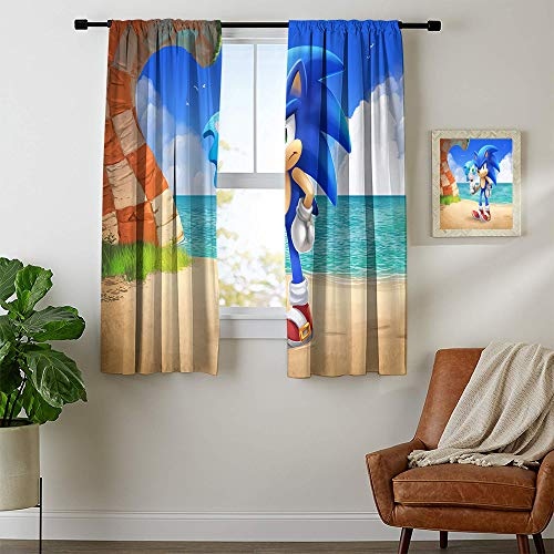 Decorative Curtains, Sonic The Hedgehog Blaze The Cat Curtains for child bedroom, Blackout Window Curtain W42 x L72 Inch