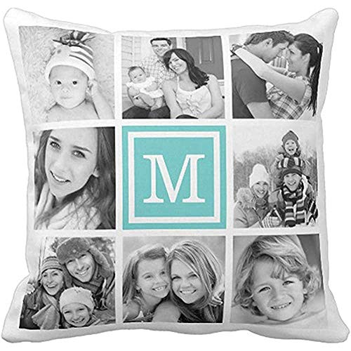 vjgdlz Throw Pillow Covers Niedliche Personalisierte Türkisfarbene Monogramm Collage Moderne Kissenbezug Mit Reißverschluss 45X45Cm Muster Unisex Kissen Home Decor Zweiseitige Wohnung Ki