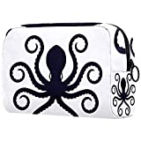 Sylized Shape Silhouette Octopus - Bolsa de maquillaje portátil con logo de pulpo impreso, bolsa de cosméticos para mujer