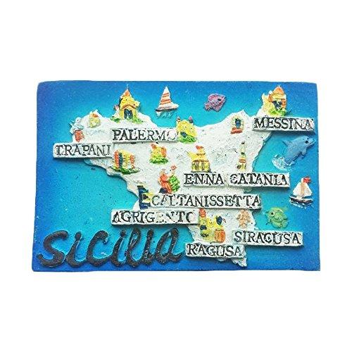 Sicilia 3D Kühlschrankmagnet, Italien Tourist Souvenirs, Hand Creative Kunstharz Home Kühlschrank Dekoration, Magnet Sticker