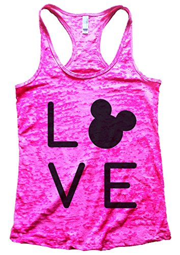 "Funny Threadz Womens Fitness Workout Running Racerback Tank Top ""Love Disney X-Large, Shocking Pink"
