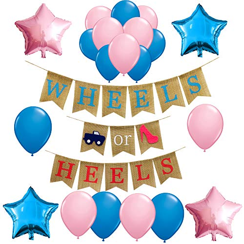 Gender Reveal Party Supplies and Decorations,Wheels or Heels Theme Burlap Banner for Boy or Girl,Pink or Blue,Baby Shower Ideas, Pregnancy Photo Prop