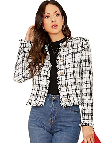 Womens Elegant Round Neck Long Sleeve Vintage Plaid Tweed Jacket Blazer