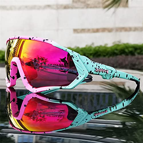 ERWEI Gafas de Sol Deportivas polarizadas, Gafas de Sol de Ciclismo polarizadas para Hombres Mujeres con 5 lenos Intercambiables para Correr béisbol Corriendo y Gafas de Ciclismo,E