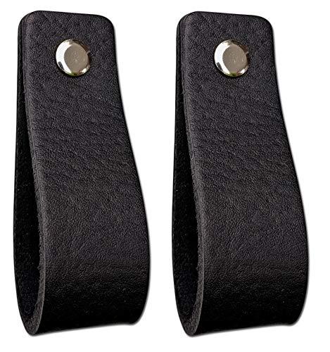 Ledergriffe Möbel   Schwarz - 2 Stück   Ledergriff für Schränke, die Küche und Tür   Inklusive 3 farbigen Schrauben