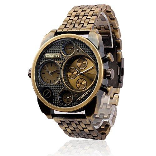 OULM sehen Klassische Retro- Pers5onlichkeit-Männer Uhren/Zwei Zeit-Zonen/Legierungsstahl-Geschäfts-Luxuxkleid-Armbanduhr um