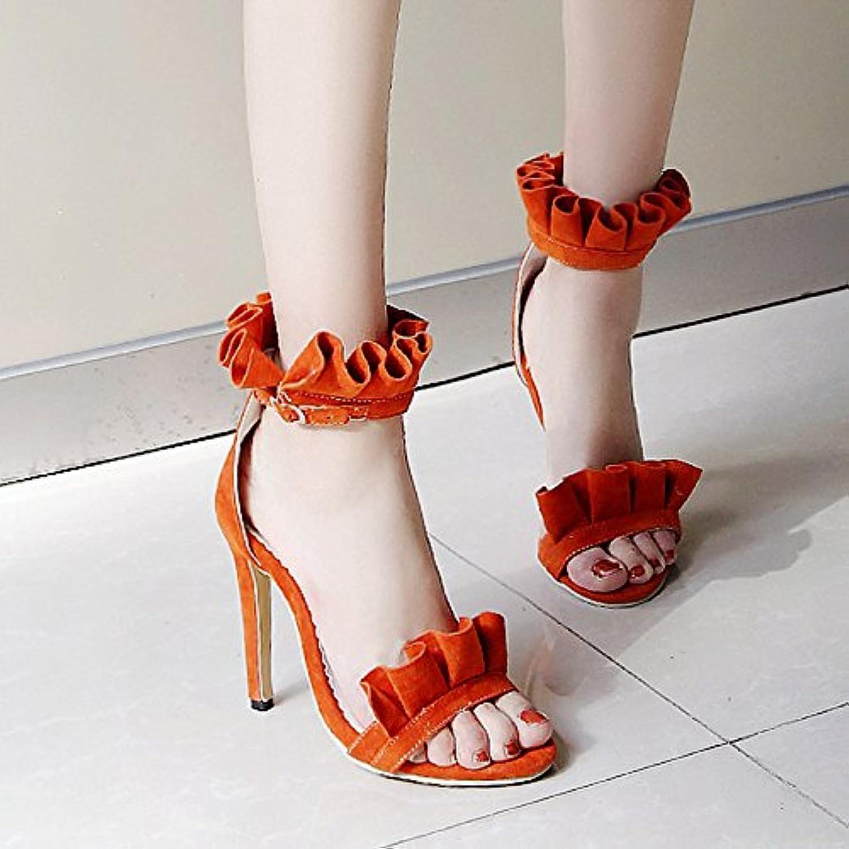 shoes Leatherette Spring Summer Comfort Sandals Stiletto Heel Open Toe for Wedding Dress Black orange Yellow Pink