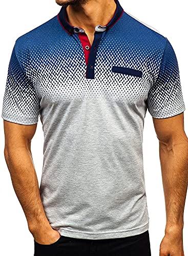 Liuhong Camisas Polo de Verano de Manga Corta con Botones para Hombre Camisetas básicas Camisetas S-XXL (Large,White)