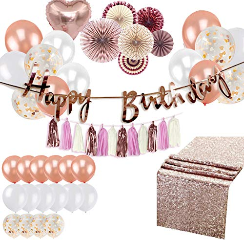 Women Birthday Decorations Rose Gold Party Supplies Set Shiny Happy Birthday Banner Foil Heart Balloons Hanging Fans Backdrop Sequin Table Runner Garland Tassels Baby Bridal Wedding Shower Bachelorette Kit
