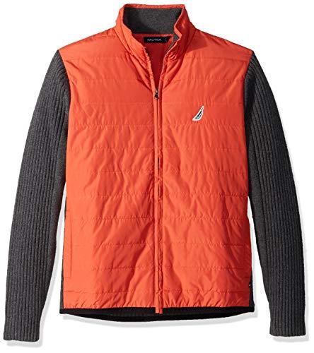 Nautica Men's Long Sleeve Full Zip Front Mock Neck Sweater, Orange Poppy, Large