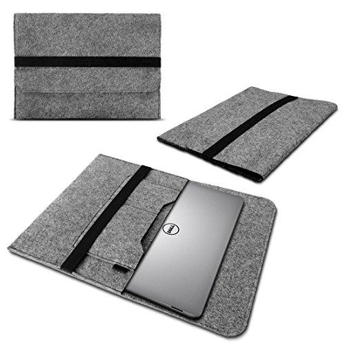 UC-Express Laptop Tasche Sleeve Hülle für Dell XPS 13 9380 9370 9360 9365 Notebook Netbook Hülle aus strapazierfähigem Filz in Grau mit praktischen Innentaschen, Farbe:Grau