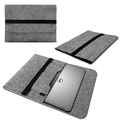 UC-Express Laptop Tasche Sleeve Hülle für Dell XPS 13 9380 9370 9360 9365 Notebook Netbook Case aus strapazierfähigem Filz in Grau mit praktischen Innentaschen, Farbe:Grau