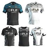 Maillot de Rugby pour Homme, Maillot de Rugby Respirant Nouvelle Version 2020 des Fidji, T-Shirt de Supporter Sport Top Polo-Black.A-XXL