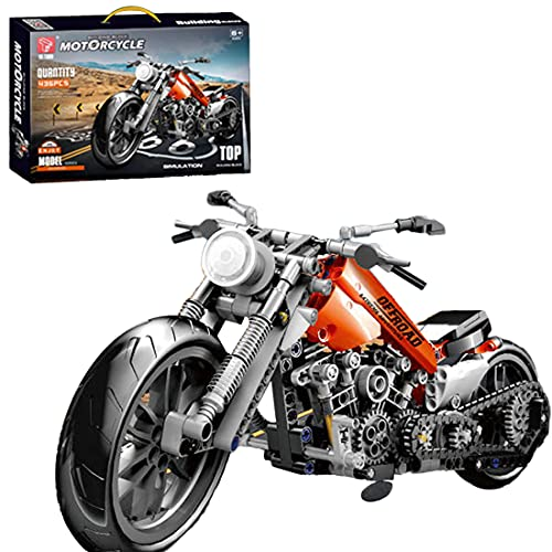 Lommer Technik Motorrad für Kawasaki, 436 Klemmbausteine Technik Mountainbike Rennen Motorrad Modell, Bausteine Bausatz Kompatibel mit Lego Technic