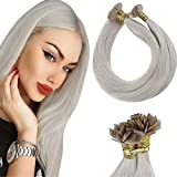 Flat Tip Extensions Blonde LaaVoo Flat Tip Real Human Hair Extensions White Blonde Pre Bonded Keratin Flat Tip Fusion Hair Extensions Blonde Hot Fusion Straight Hair Flat Tip 50g/50s 22'