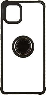 Hard Back Cover with Silicone Edges and Metal Ring for Samsung Galaxy Note 10 Lite - Black & Clear