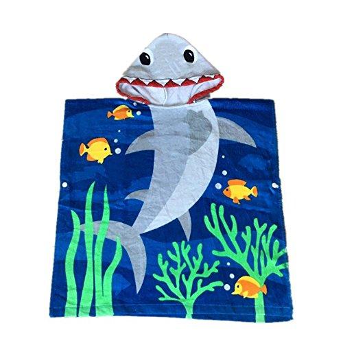 Zinsale Cartoon Kinder Kapuzen Strand Badetuch Weiche Baumwolle Kapuzenhandtücher Poncho Badetücher Kinder Bademantel Decke (Hai, Länge: 70 cm)