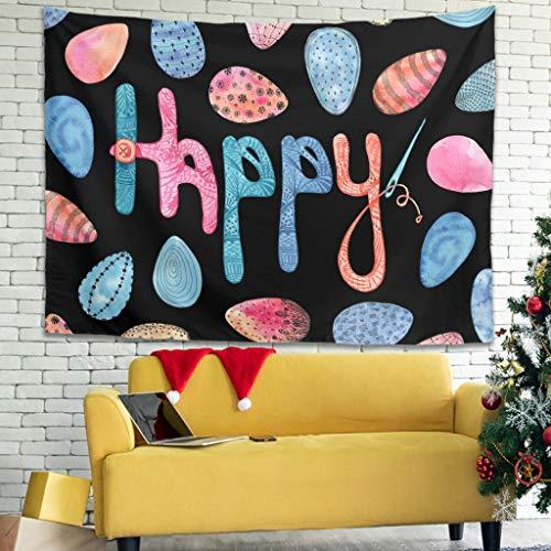 Ballbollbll Tapiz de huevo de Pascua para colgar en la sala de estar, fundas de sofá, tapiz, decoración blanca de 79 x 59 pulgadas