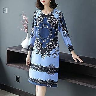Mdhnfhdjd Fashion Retro Print Pleated A-line Dress (Color : Light Blue, Size : One Size)