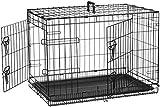 AmazonBasics - Gabbia per cani in metallo, pieghevole, con 2...