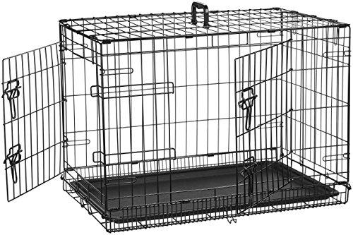 AmazonBasics Double-Door Folding Metal Dog Crate Cage - 30 x 19 x 21...