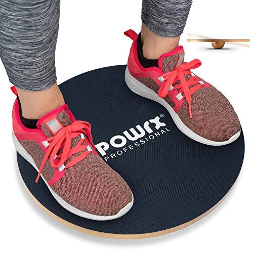POWRX Balance Board Legno - Ideale per Esercizi di propriocettività, Fisioterapia e Fitness - Superficie Antiscivolo + PDF Workout (45 cm)