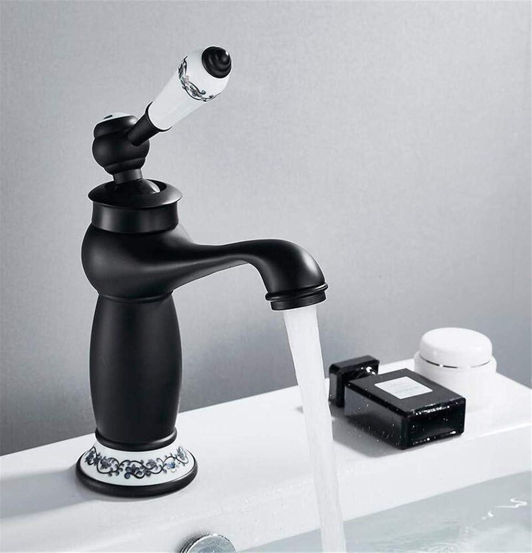 360 ° drehbarer Wasserhahn Retro Faucetretro Einhand-Chrom Schwarz für Kalt- und Warmwasser Waschbecken Mischbatterie