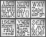 Aleks Melnyk #53 Plantillas Stencils de Metal para estarcir/Abecedario, Letters, Letras, Alfabeto, Numeros Grandes/para Arte Manualidades/Plantillas para Estarcidos/6 piezas/Bricolaje, DIY