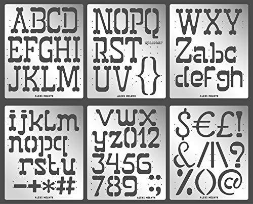 Aleks Melnyk #53 Schablone/Metall Stencil Vorlagen for Painting/Buchstaben, Zahlen, Alphabet - 5,1 cm/6 Stück/DIY Kunst Projekte/Stencil für Scrapbooking und Zeichnen/Brandmalerei Schablone/Basteln