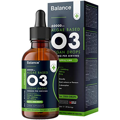 Balance Vegan Omega 3 Liquid Drops - Natural Lime Flavour - High Strength 2000mg - Sublingual Fast Absorption - Gluten Free - Made in The UK - (60ml Bottle, 30 Servings)
