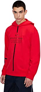 A X Armani Exchange Men's Logo Tape Pullover Hoodie, Absolute Red, Small