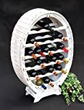DanDiBo Weinregal Weiss Weinfass aus Holz für 24 Flaschen Vintage Shabby Chic Landhaus Bar Flaschenständer stehend Weinständer Fass