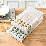 60個用 卵ケース 卵入れ 冷蔵庫用 たまご収納 クリアケース 家庭用卵収納ボックス二層式プラスチック大容量ダブル引き出しタイプ 卵収納トレイ冷蔵庫用 クリーン アウトドア お弁当 収納ホルダー 保存容器 お手入れが簡単 取り出し便利 台所収納 卵収納 卵容器