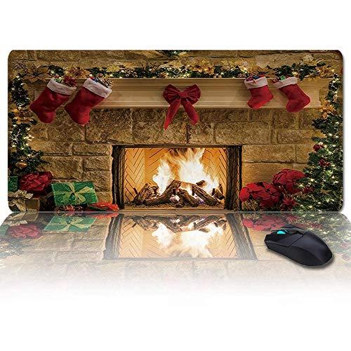 Extra großes, erweitertes Gaming-Mauspad, Weihnachts-Kamin-Geschenk-Mousepad, lange rutschfeste Gummibasis, XXL-große Tastatur-Schreibtischmatte für Desktop / Laptop / Büro / Zuhause