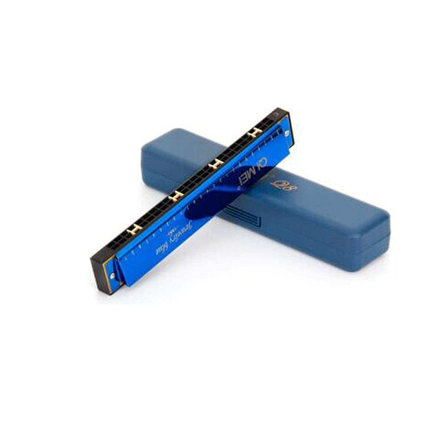 Harmonica, Children's Students Beginners Introduction Adult Musical Instruments Playing 24 Hole Accented C Harmonica, Chinese Red + Textbook (Color : Blue-182.83.1cm)