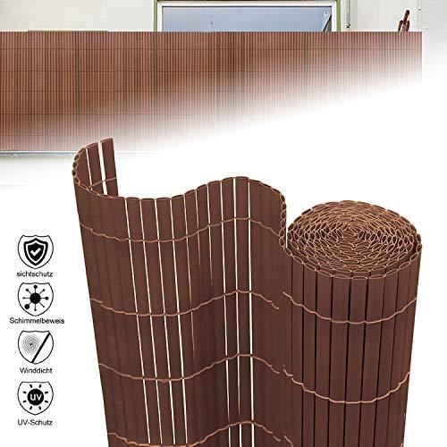 Aufun Sichtschutzmatte PVC 120x500cm - Sichtschutzzaun Braun Windschutz fur Garten Balkon und Terrasse (120x500cm,Braun)