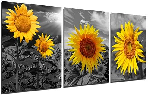 Black and White Sunflower Wall Art Country Farmhouse Canvas Painting Yellow Bathroom Bedroom product image